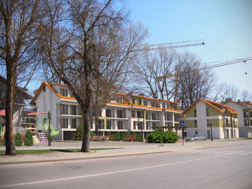 Poilsio pastato su gyvenamosiomis patalpomis statybos projektas. Ganyklų g. 12,14, Palanga